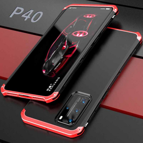 3 in 1 Double Color Metal Bumper Hard PC Back Cover Case For HUAWEI P40 Pro/P40