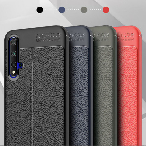 Litchi Grain Leather Touch Feeling Soft Silicone Protective Cover Case For HUAWEI Nova 5 Pro/Nova 5