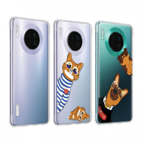 Original HUAWEI Mate 30 Lovely Cartoon Soft Clear Back Cover Case