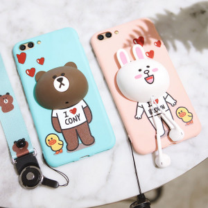 3D Cartoon Soft Silicone Multi-Function Protective Case With Lanyard For Huawei Honor 10/V10