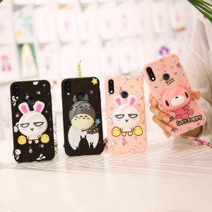 3D Cartoon Soft Silicone Multi-Function Protective Case With Lanyard For Huawei Nova 4/Nova 3i/Nova 3e/Nova 3/Nova 4e