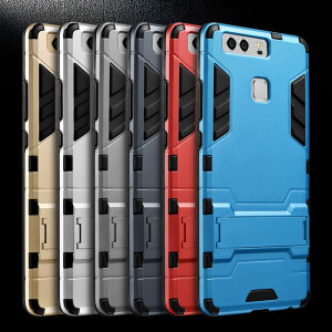 Armor Style Full Protection Simple Silicone Protective Case With Stand Function For Huawei P9/P9 Plus