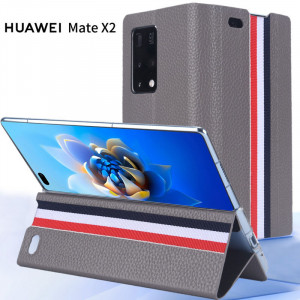 Classic Clamshell First Layer Cowhide Litchi Pattern Protective Case For HUAWEI Mate X2