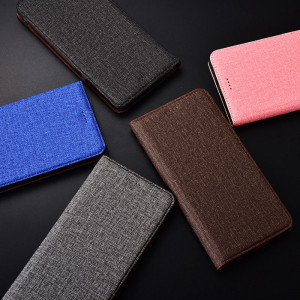 Cotton Fiber Texture Flip PU Leather Protective Case For Huawei Enjoy 9S/9E/9 Plus/Enjoy Max/Enjoy 9