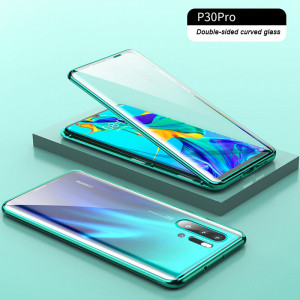 Double Sided Toughened Glass Magnetic Adsorption Metal Frame Back Cover Full Protection Case For Huawei P30 Pro/P30