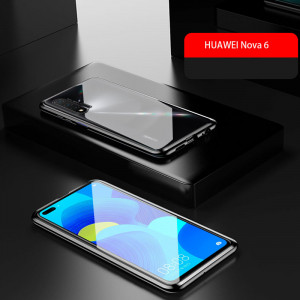 Double Sided Toughened Glass Magnetic Adsorption Metal Frame Back Cover For Huawei Nova 6