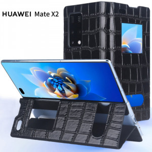 Dual Window Clamshell First Layer Cowhide Protective Case For HUAWEI Mate X2