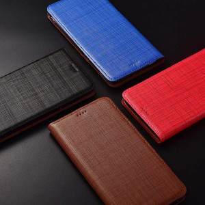 Genuine Cowhide Leather Retro Plaid Texture Flip Protection Case Cover For HUAWEI Honor V30 Pro/V30