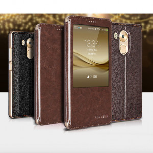 High Quality Classic Flip Genuine Leather Protective Case With Smart View Window For Huawei Mate 8