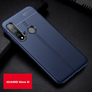 Litchi Grain Leather Touch Feeling Soft Silicone Protective Cover Case For HUAWEI Nova 5i/Nova 4e/Nova 4