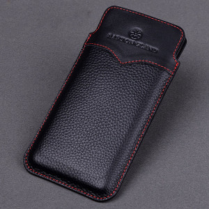 Pull Type Contrasting Genuine Leather Protective Case For HUAWEI Nova 4e/Nova 4