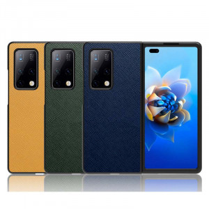 Top Layer Cowhide Leather Litchi & Cross Texture Protective Case For HUAWEI Mate X2