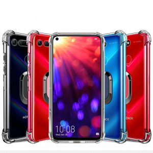 Transparent Soft TPU Anti-drop Protective Back Case With Ring Holder For Huawei Honor V20