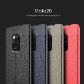 Litchi Grain Leather Touch Feeling Soft Silicone Protective Cover Case For Huawei Mate 20 Pro / Mate 20